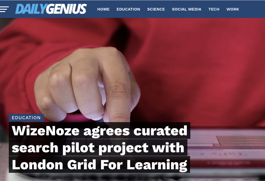 Wizenoze agrees curated search pilot project with London Grid For Learning
